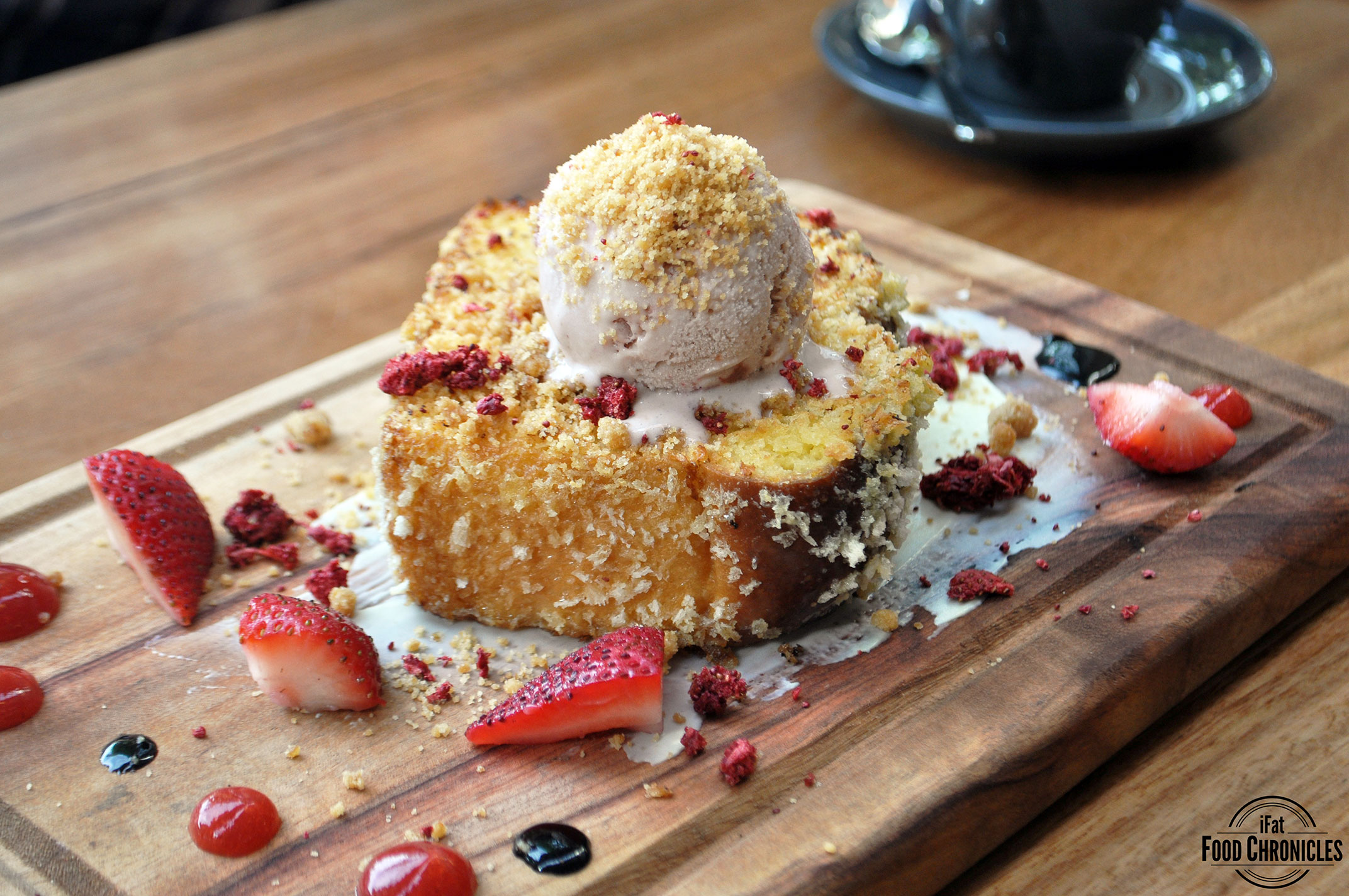 Little lost bread: Brioche French toast with strawberries, balsamic and strawberry gastrique, strawberry cheesecake ice cream and arnott's biscuit crumble