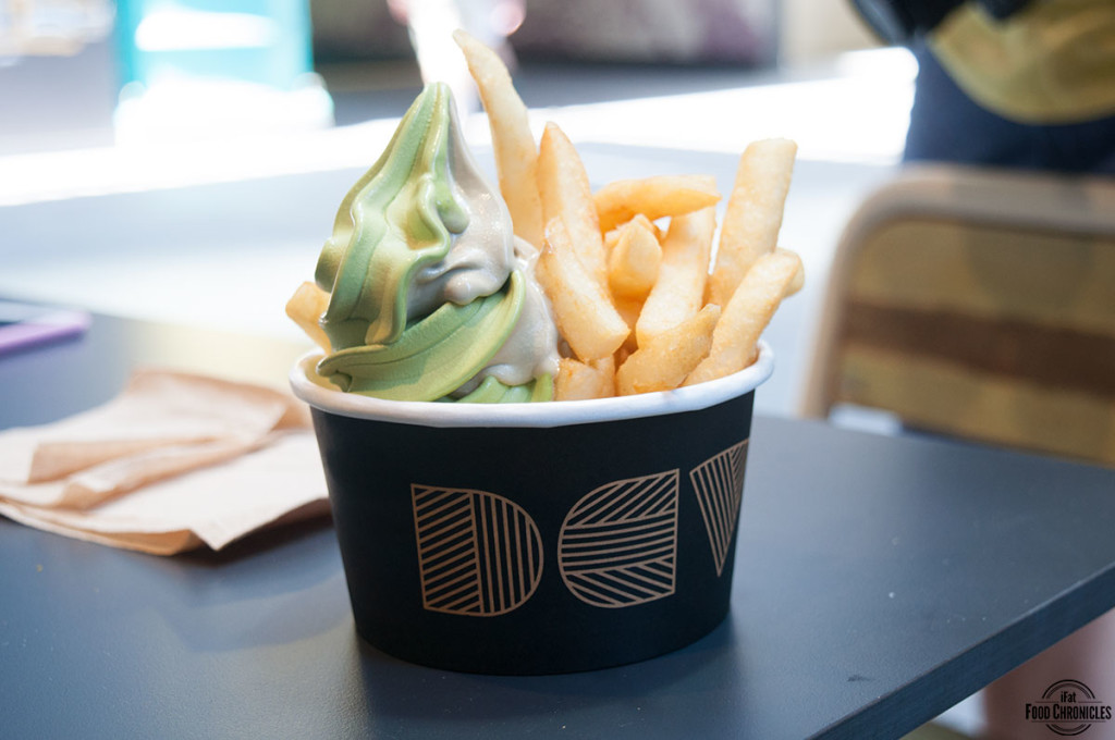 DD special with matcha/hojicha soft serve and chips
