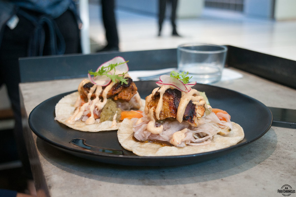 Achiote Chicken Tacos with smoked jalapeno jam, slaw, chipotle aioli ...