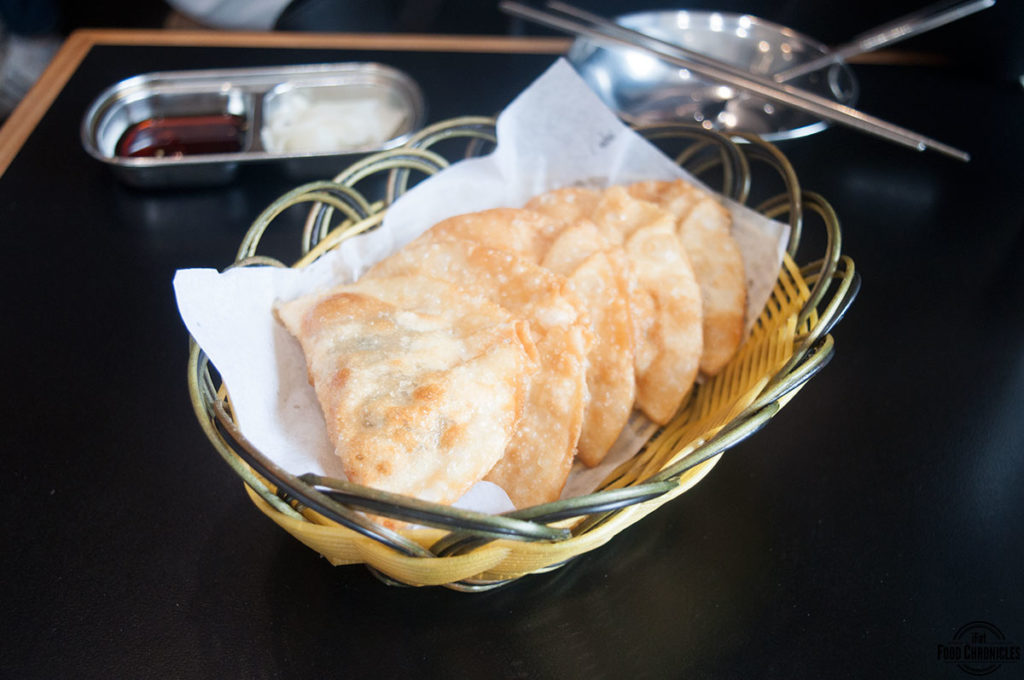 the mandoo fried pork dumplings